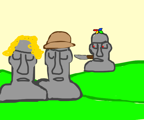 A moai wants to murder a father and daughter