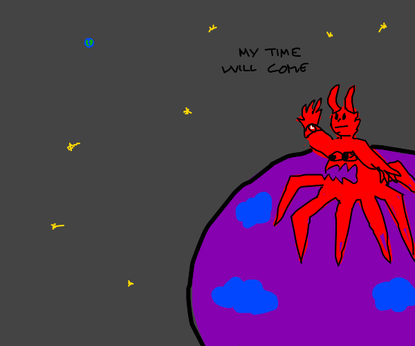 enormous demon standing on his planet waiting