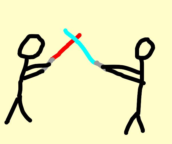 stick figure lightsaber fight