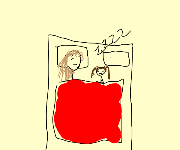 Mom and daughter sleeping quietly
