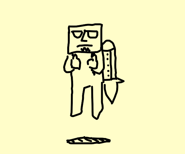 Square faced man with jetpack
