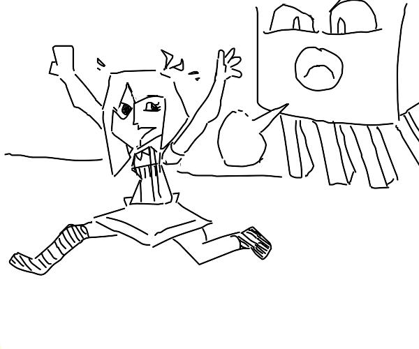 ENA gets chased by Minecraft Ghast (Joel G)