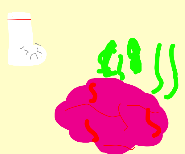 Sock is scared of smelly brain