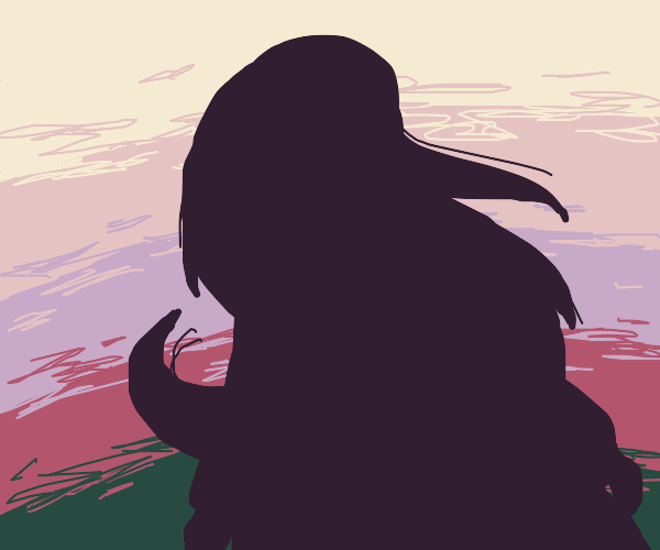 silhouette of a long-haired woman at dusk