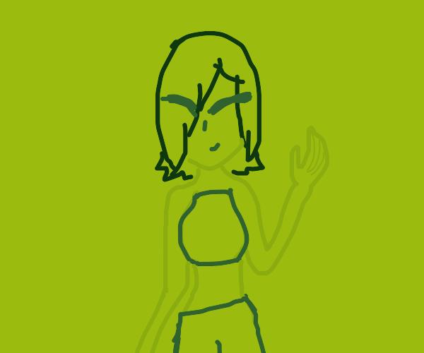 Green anime person
