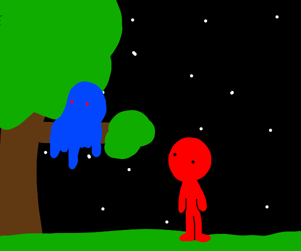 red man meets blue monster on a tree at night