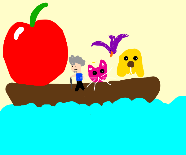 apple on a boat with an old man and animals
