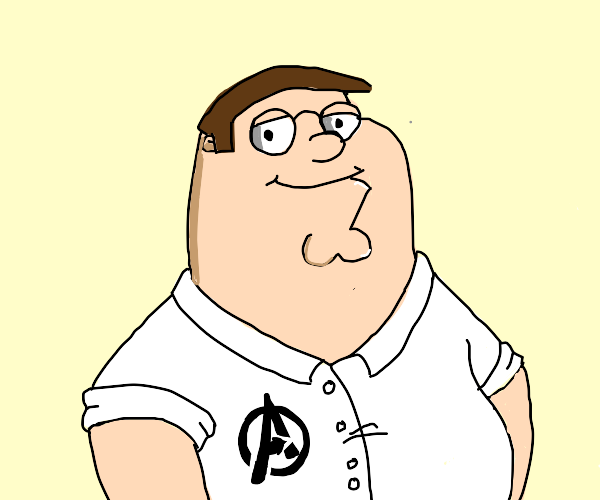 Peter Griffin with an Avengers shirt