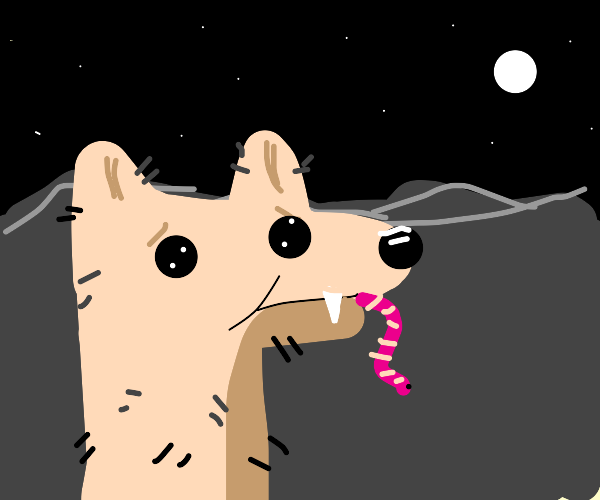 naked wolf eating a worm