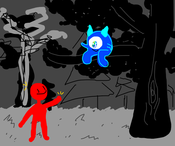 guy sees a blue forest monster on a branch