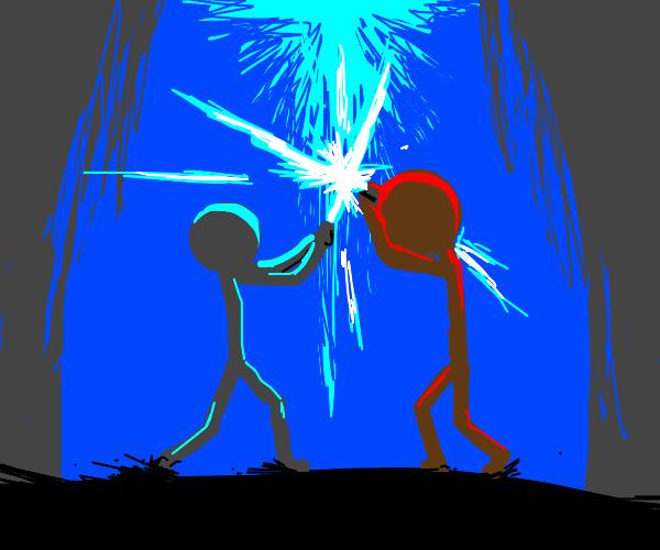 lightsaber battle between red n blue stickmen