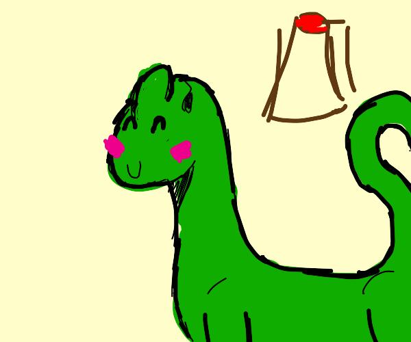 Dinosaur feeling cute and blushing
