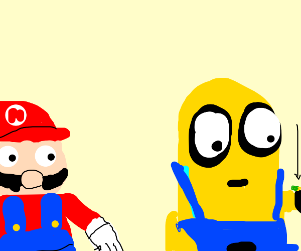 mario watches minion eat green pills