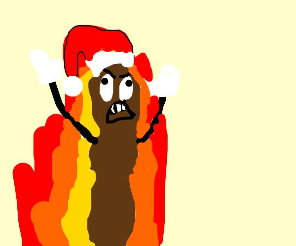 Mr Hankey is on fire!