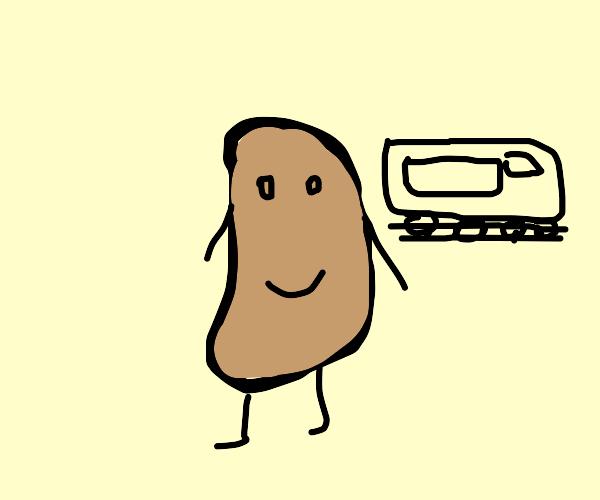 Potato going on a train trip