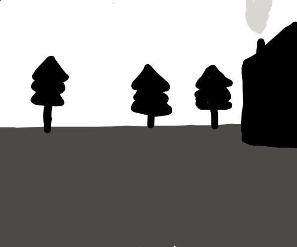 black and white tree scene