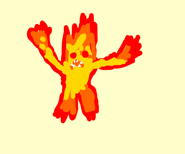 humanoid fire being