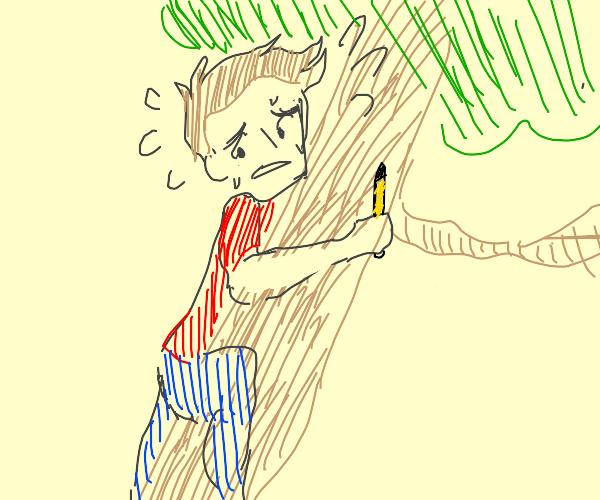 jazza climbs a tree