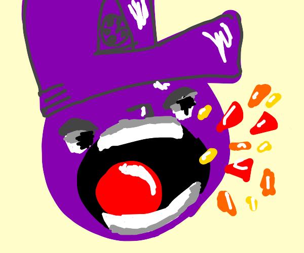 purple man screams confetti