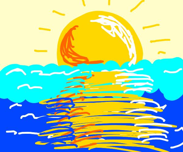 Beautiful sunset on the ocean