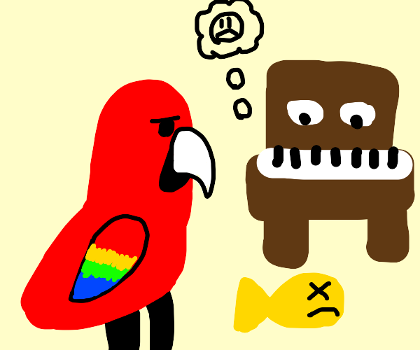 Parrot and Piano are in grief with dead fish.