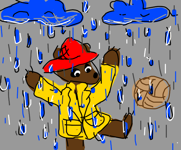 Paddington Bear playing in the rain