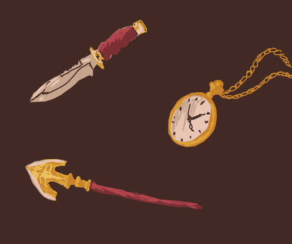 knife, clock, and arrow pointing to the left