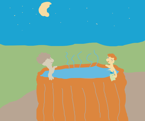 Two Bros Chillin In A Hot Tub-
