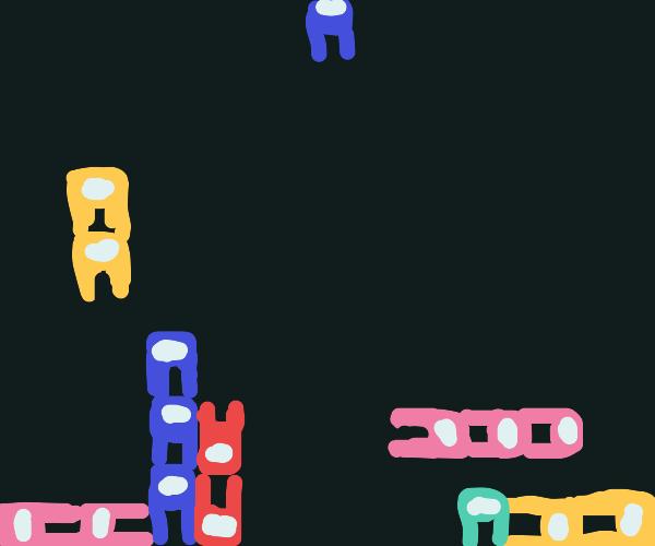Among us Characters, but as tetris blocks