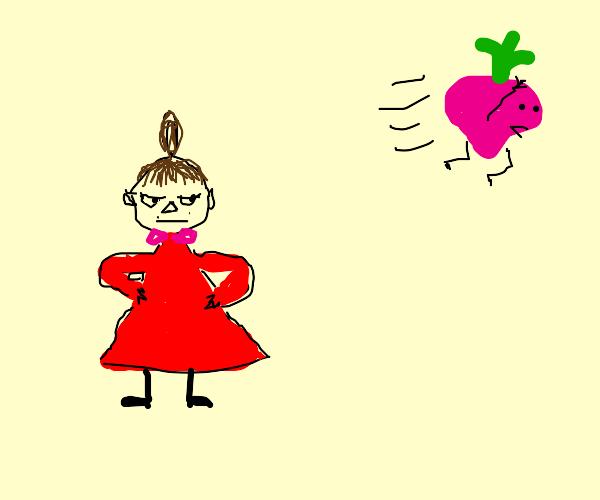 Radish runs from an angry girl