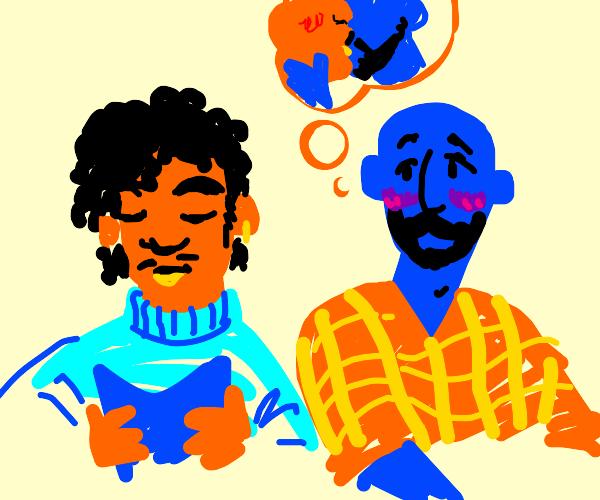 blue man wants to kiss orange man