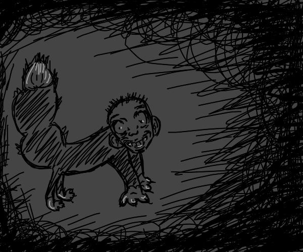 Creepy hairy raccoon man prowling in the dark