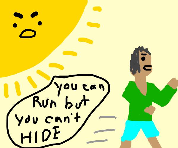 Man running from the Sun