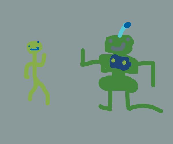 A man and a alien robot