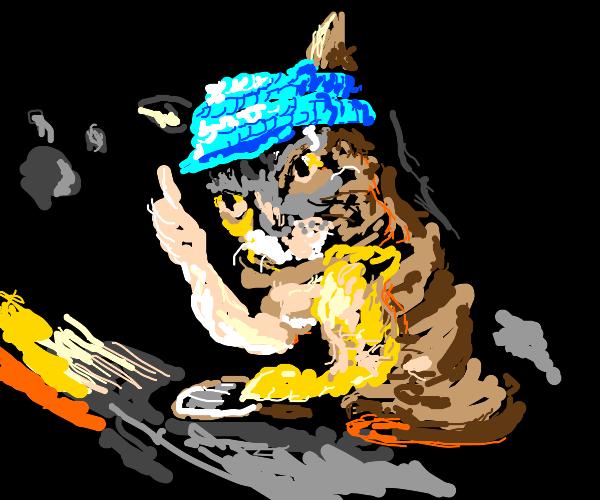 cat wearing beanie