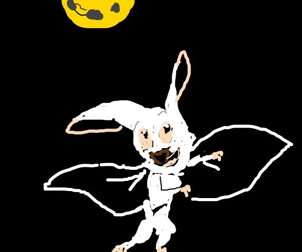 white bat in the night