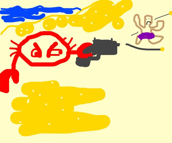 crab shooting someone at beach