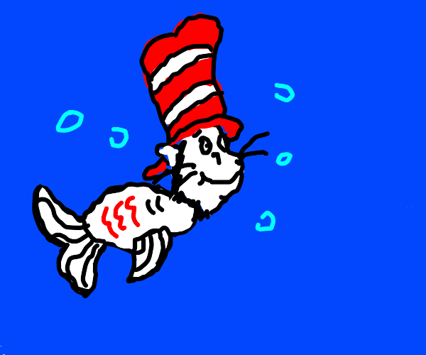 Cat in the hat as a fish