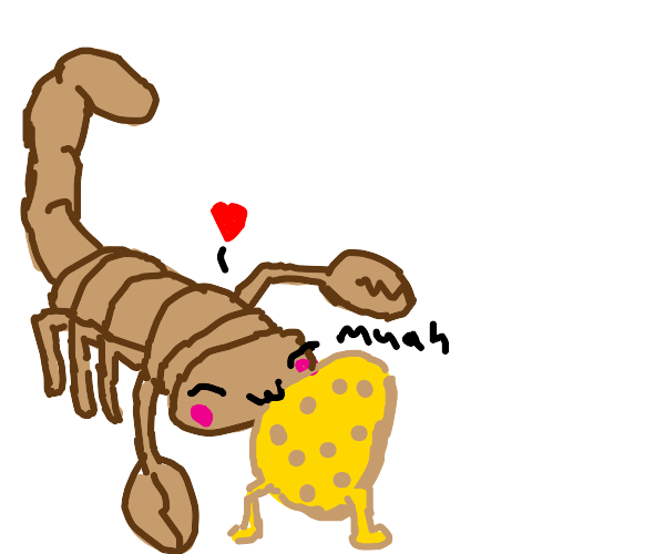 Scorpion kissing a walking potato (kawaii)