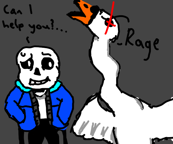 Sans and an angry swan