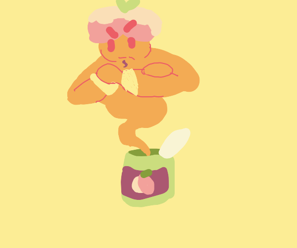 A peach genie coming out of a can