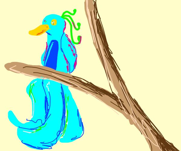 Pretty bird on tree's branch