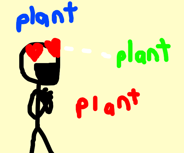 man is very passionate about green plants
