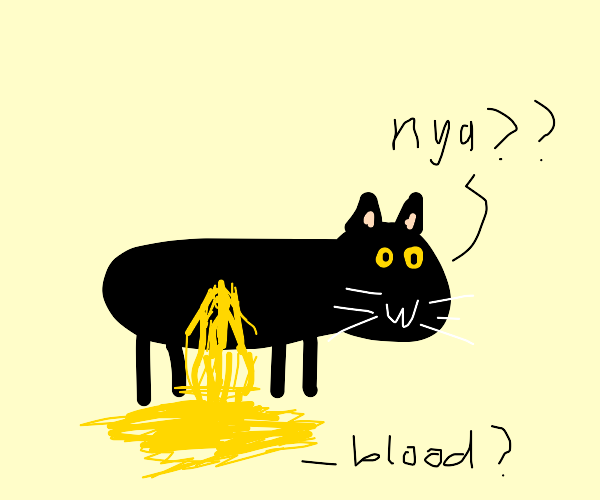 cat with yellow blood...?
