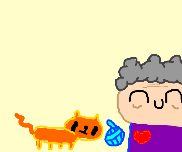 gramma playing yarn with cat