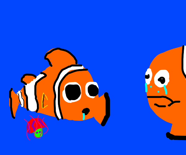 Nemo found the magic mushroom, father is sad.