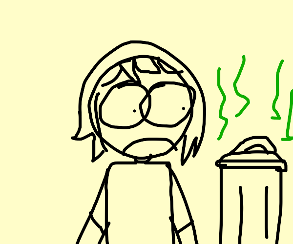 Girl doesn't want to eat from a trash can