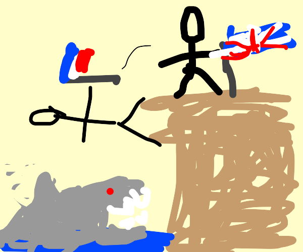 french man being thrown to the sharks
