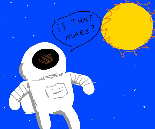 Astronaut mistakes the sun for mars