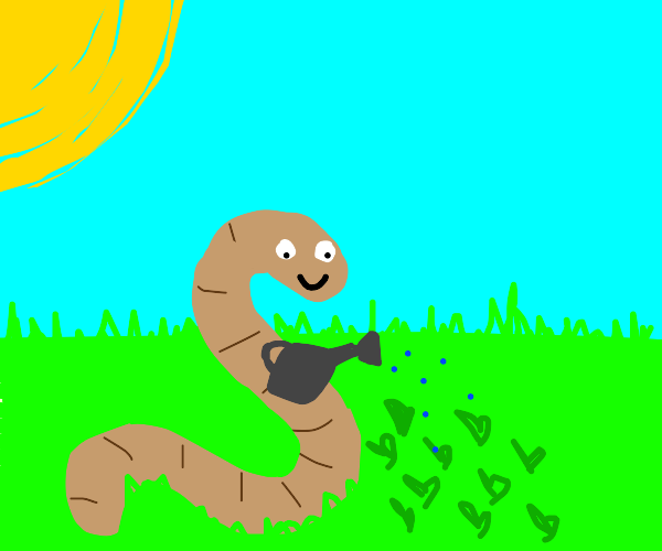 Worm waters his plants happily on a nice day